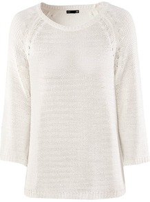 Jumper - neckline: round neck; sleeve style: dolman/batwing; pattern: plain; style: standard; predominant colour: ivory; occasions: casual, work; length: standard; fibres: acrylic - 100%; fit: loose; sleeve length: 3/4 length; texture group: knits/crochet; pattern type: knitted - other; pattern size: standard