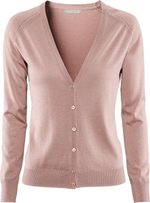 Cardigan - neckline: low v-neck; pattern: plain; bust detail: buttons at bust (in middle at breastbone)/zip detail at bust; predominant colour: pink; occasions: casual, work; length: standard; style: standard; fibres: silk - mix; fit: standard fit; sleeve length: long sleeve; sleeve style: standard; texture group: knits/crochet; pattern type: fabric; pattern size: standard