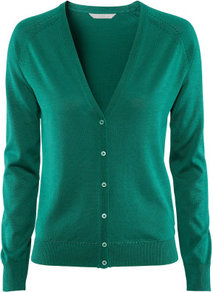 Cardigan - neckline: low v-neck; pattern: plain; bust detail: buttons at bust (in middle at breastbone)/zip detail at bust; predominant colour: emerald green; occasions: casual, work; length: standard; style: standard; fibres: silk - mix; fit: standard fit; sleeve length: long sleeve; sleeve style: standard; texture group: knits/crochet; pattern type: fabric; pattern size: standard