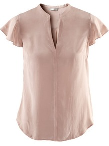 Silk Blouse - sleeve style: capped; pattern: plain; style: blouse; predominant colour: blush; occasions: casual, evening, work; length: standard; neckline: mandarin with v-neck; fibres: silk - 100%; fit: straight cut; sleeve length: short sleeve; texture group: silky - light; pattern type: fabric; pattern size: standard