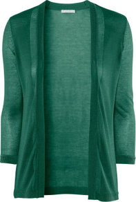 Cardigan - pattern: plain; neckline: collarless open; style: open front; predominant colour: emerald green; occasions: casual, work; length: standard; fibres: polyester/polyamide - 100%; fit: standard fit; sleeve length: 3/4 length; sleeve style: standard; texture group: knits/crochet; pattern type: knitted - fine stitch; pattern size: standard