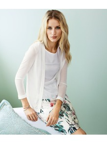 Cardigan - pattern: plain; neckline: collarless open; predominant colour: white; occasions: casual, work; length: standard; style: standard; fibres: polyester/polyamide - 100%; fit: standard fit; sleeve length: 3/4 length; sleeve style: standard; texture group: knits/crochet; pattern type: knitted - fine stitch; pattern size: standard
