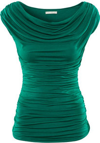 Top - neckline: cowl/draped neck; sleeve style: capped; pattern: plain; waist detail: fitted waist, twist front waist detail/nipped in at waist on one side/soft pleats/draping/ruching/gathering waist detail; bust detail: ruching/gathering/draping/layers/pintuck pleats at bust; predominant colour: emerald green; occasions: casual, evening, work, occasion; length: standard; style: top; fibres: polyester/polyamide - 100%; fit: body skimming; shoulder detail: flat/draping pleats/ruching/gathering at shoulder; sleeve length: short sleeve; texture group: jersey - clingy; pattern type: fabric