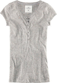 Top - neckline: round neck; pattern: plain; style: t-shirt; bust detail: buttons at bust (in middle at breastbone)/zip detail at bust; predominant colour: mid grey; occasions: casual; length: standard; fibres: cotton - mix; fit: body skimming; sleeve length: short sleeve; sleeve style: standard; pattern type: fabric; pattern size: standard; texture group: jersey - stretchy/drapey
