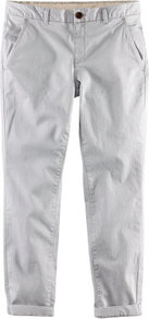 Ankle Lengthtrousers - pattern: plain; pocket detail: pockets at the sides; waist: mid/regular rise; predominant colour: light grey; occasions: casual; length: calf length; style: chino; fibres: cotton - stretch; waist detail: narrow waistband; jeans &amp; bottoms detail: turn ups; texture group: cotton feel fabrics; fit: straight leg; pattern type: fabric; pattern size: standard