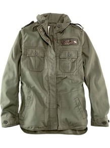 Jacket - pattern: plain; bust detail: added detail/embellishment at bust; fit: loose; length: below the bottom; collar: high neck; style: boxy; predominant colour: khaki; occasions: casual; fibres: cotton - 100%; shoulder detail: discreet epaulette; sleeve length: long sleeve; sleeve style: standard; collar break: high; pattern type: fabric; texture group: other - light to midweight
