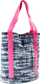 Bag - predominant colour: navy; occasions: casual, holiday; type of pattern: standard; style: shoulder; length: shoulder (tucks under arm); size: standard; material: fabric; pattern: tie dye, patterned/print; finish: plain