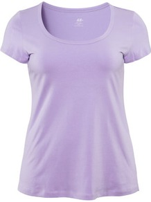 + Top - pattern: plain; predominant colour: lilac; occasions: casual, holiday; length: standard; style: top; neckline: scoop; fibres: cotton - mix; fit: loose; sleeve length: short sleeve; sleeve style: standard; pattern type: fabric; pattern size: standard; texture group: jersey - stretchy/drapey