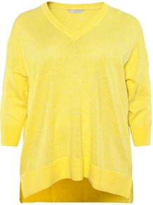 + Jumper - neckline: v-neck; sleeve style: dolman/batwing; pattern: plain; style: standard; predominant colour: yellow; occasions: casual; length: standard; fibres: linen - mix; fit: loose; back detail: longer hem at back than at front; sleeve length: 3/4 length; texture group: knits/crochet; pattern type: knitted - fine stitch; pattern size: standard