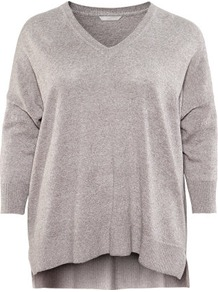 + Jumper - neckline: v-neck; sleeve style: dolman/batwing; pattern: plain; predominant colour: mid grey; occasions: casual; length: standard; style: a-line; fibres: linen - mix; fit: loose; back detail: longer hem at back than at front; sleeve length: 3/4 length; texture group: knits/crochet; pattern type: knitted - fine stitch; pattern size: standard