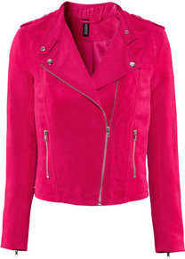 Jacket - pattern: plain; style: biker; collar: asymmetric biker; fit: slim fit; predominant colour: hot pink; occasions: casual, evening; length: standard; fibres: polyester/polyamide - 100%; shoulder detail: discreet epaulette; sleeve length: long sleeve; sleeve style: standard; collar break: medium; pattern type: fabric; texture group: suede