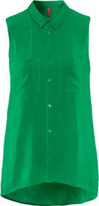 Blouse - neckline: shirt collar/peter pan/zip with opening; pattern: plain; sleeve style: sleeveless; length: below the bottom; style: blouse; predominant colour: emerald green; occasions: casual, evening, work; fibres: polyester/polyamide - 100%; fit: straight cut; back detail: longer hem at back than at front; sleeve length: sleeveless; texture group: crepes; pattern type: fabric; pattern size: standard