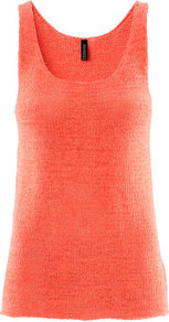 Top - neckline: scoop neck; pattern: plain; sleeve style: sleeveless; style: vest top; predominant colour: bright orange; occasions: casual, evening, holiday; length: standard; fibres: acrylic - mix; fit: body skimming; sleeve length: sleeveless; texture group: knits/crochet; pattern type: fabric; pattern size: standard