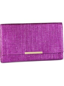 Clutch - predominant colour: purple; occasions: casual, evening, occasion, holiday; type of pattern: standard; style: clutch; length: hand carry; size: small; material: macrame/raffia/straw; pattern: plain; trends: metallics; finish: plain