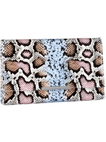 Clutch - predominant colour: pale blue; occasions: evening, occasion; type of pattern: standard; style: clutch; length: hand carry; size: small; material: macrame/raffia/straw; pattern: animal print; finish: plain