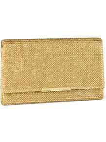Clutch - predominant colour: gold; occasions: evening, occasion; type of pattern: standard; style: clutch; length: hand carry; size: small; material: macrame/raffia/straw; pattern: plain; trends: metallics; finish: metallic