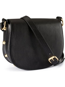 Shoulder Bag - predominant colour: black; occasions: casual; type of pattern: standard; style: saddle; length: across body/long; size: small; material: faux leather; embellishment: studs; pattern: plain; finish: plain