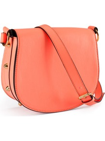 Shoulder Bag - predominant colour: coral; occasions: casual; type of pattern: standard; style: saddle; length: across body/long; size: small; material: faux leather; embellishment: studs; pattern: plain; trends: fluorescent; finish: plain