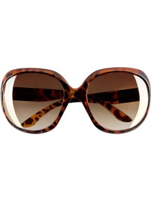 Sunglasses - predominant colour: chocolate brown; occasions: casual, holiday; style: square; size: large; material: plastic/rubber; pattern: animal print, tortoiseshell; finish: plain