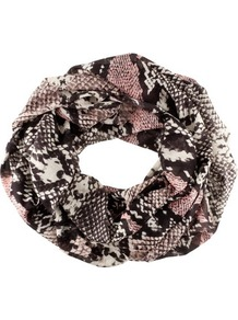 Tube Scarf - predominant colour: black; occasions: casual, work; type of pattern: standard; style: snood; size: standard; material: fabric; pattern: animal print, patterned/print