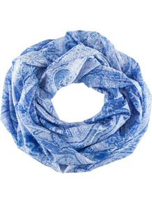 Tube Scarf - predominant colour: royal blue; occasions: casual, work; type of pattern: standard; style: snood; size: standard; material: fabric; pattern: paisley, patterned/print