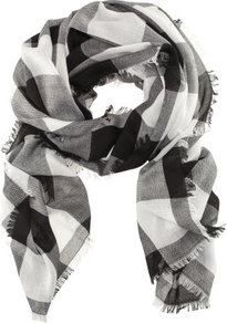 Scarf - predominant colour: black; occasions: casual; type of pattern: large; style: regular; size: standard; material: fabric; pattern: checked/gingham