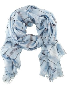 Scarf - predominant colour: pale blue; occasions: casual, work; type of pattern: standard; style: regular; size: standard; material: fabric; pattern: checked/gingham