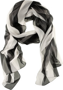 Scarf - predominant colour: black; occasions: casual, work; type of pattern: standard; style: regular; size: standard; material: fabric; pattern: vertical stripes, striped; trends: striking stripes