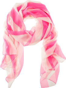 Scarf - predominant colour: hot pink; occasions: casual, work; type of pattern: standard; style: regular; size: standard; material: fabric; pattern: vertical stripes, striped; trends: striking stripes, fluorescent