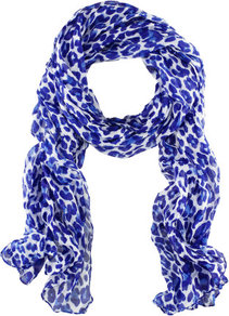 Scarf - predominant colour: royal blue; occasions: casual, work; type of pattern: standard; style: regular; size: standard; material: fabric; pattern: animal print
