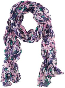 Scarf - occasions: casual, work; predominant colour: multicoloured; type of pattern: heavy; style: regular; size: standard; material: fabric; pattern: florals, patterned/print; trends: high impact florals