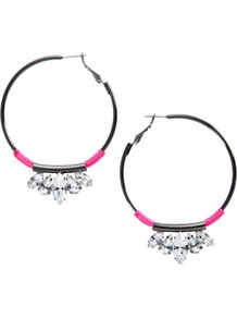 Earrings - predominant colour: charcoal; occasions: casual, evening, holiday; style: hoop; length: mid; size: standard; material: chain/metal; fastening: pierced; trends: fluorescent; finish: metallic; embellishment: crystals, jewels