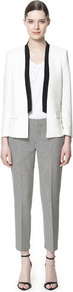 Blazer With Contrasting Lapel - pattern: plain; style: single breasted blazer; collar: standard lapel/rever collar; predominant colour: white; occasions: casual, evening, occasion; length: standard; fit: tailored/fitted; fibres: polyester/polyamide - 100%; sleeve length: long sleeve; sleeve style: standard; texture group: crepes; trends: tuxedo; collar break: low/open; pattern type: fabric; pattern size: standard