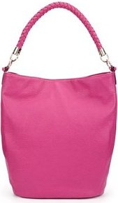 Plaited Hobo Bag - predominant colour: hot pink; occasions: casual, evening, work; type of pattern: standard; style: tote; length: handle; size: oversized; material: faux leather; pattern: plain; finish: plain