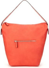 Front Zip Pocket Bucket Hobo Bag - predominant colour: coral; occasions: casual, evening, work; type of pattern: standard; style: tote; length: handle; size: oversized; material: faux leather; embellishment: zips; pattern: plain; finish: plain