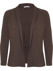 Women's Taupe Pleat Detail Jersey Cardigan, Taupe - pattern: plain; neckline: collarless open; hip detail: flared at hip; bust detail: ruching/gathering/draping/layers/pintuck pleats at bust; style: open front; predominant colour: taupe; occasions: casual, work; length: standard; fibres: viscose/rayon - stretch; fit: standard fit; shoulder detail: added shoulder detail; sleeve length: 3/4 length; sleeve style: standard; pattern type: fabric; texture group: jersey - stretchy/drapey