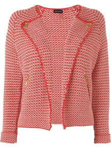 Women's Textured Biker Jacket, Red - pattern: plain, horizontal stripes, herringbone/tweed; style: biker; collar: wide lapels; fit: slim fit; predominant colour: true red; occasions: casual, evening, work, holiday; length: standard; fibres: cotton - mix; sleeve length: long sleeve; sleeve style: standard; collar break: high; pattern type: fabric; pattern size: standard; texture group: tweed - light/midweight