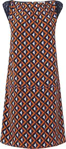 Women's Geoprint Panel Dress, Orange - style: shift; neckline: slash/boat neckline; sleeve style: capped; shoulder detail: contrast pattern/fabric at shoulder; predominant colour: bright orange; occasions: casual, evening, occasion; length: just above the knee; fit: soft a-line; fibres: silk - 100%; sleeve length: short sleeve; texture group: silky - light; trends: statement prints, modern geometrics; pattern type: fabric; pattern size: standard; pattern: patterned/print
