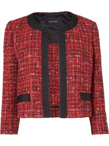 Women's Boucle Tweed Jacket, Red - collar: round collar/collarless; length: cropped; style: boxy; pattern: herringbone/tweed; predominant colour: true red; occasions: casual, evening, work; fit: straight cut (boxy); fibres: wool - mix; sleeve length: 3/4 length; sleeve style: standard; collar break: medium; pattern type: fabric; pattern size: standard; texture group: woven light midweight
