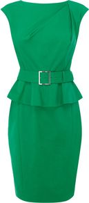 Women&#x27;s Colourful Shift Dress, Green - style: shift; neckline: slash/boat neckline; sleeve style: capped; fit: tailored/fitted; pattern: plain; waist detail: fitted waist, peplum waist detail, belted waist/tie at waist/drawstring; hip detail: fitted at hip; bust detail: ruching/gathering/draping/layers/pintuck pleats at bust; predominant colour: emerald green; occasions: casual, evening, work; length: just above the knee; fibres: viscose/rayon - stretch; sleeve length: short sleeve; trends: glamorous day shifts, sculptural frills; pattern type: fabric; pattern size: standard; texture group: other - light to midweight