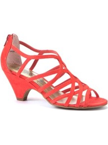 Coral Strappy Mid Heel Sandals - predominant colour: coral; occasions: evening, occasion, holiday; material: faux leather; heel height: mid; embellishment: zips; heel: cone; toe: open toe/peeptoe; style: strappy; finish: plain; pattern: plain