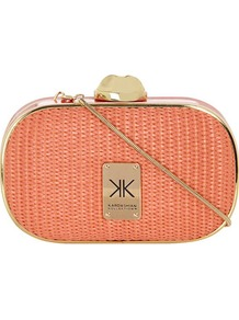 Kardashian Kollection Coral Straw Clutch - predominant colour: coral; occasions: evening, occasion, holiday; type of pattern: light; style: clutch; length: hand carry; size: small; material: macrame/raffia/straw; pattern: plain; finish: plain; embellishment: chain/metal