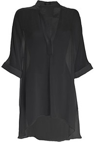 Eva Silk Georgette Shirt Black - neckline: v-neck; pattern: plain; length: below the bottom; style: shirt; predominant colour: black; occasions: casual, evening, holiday; fibres: silk - 100%; fit: loose; sleeve length: half sleeve; sleeve style: standard; texture group: sheer fabrics/chiffon/organza etc.; pattern type: fabric