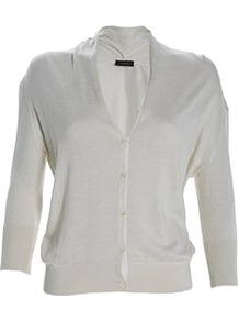 Drape Cashmere Silk Cardi White - neckline: v-neck; pattern: plain; predominant colour: white; occasions: casual, evening, work, holiday; length: standard; style: standard; fibres: silk - mix; fit: standard fit; sleeve length: 3/4 length; sleeve style: standard; texture group: knits/crochet; pattern type: fabric; pattern size: standard