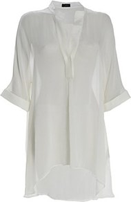 Eva Silk Georgette Shirt Chalk - pattern: plain; length: below the bottom; style: shirt; predominant colour: white; occasions: casual, evening, holiday; neckline: mandarin with v-neck; fibres: silk - 100%; fit: loose; hip detail: soft pleats at hip/draping at hip/flared at hip; bust detail: contrast pattern/fabric/detail at bust; back detail: longer hem at back than at front; sleeve length: 3/4 length; sleeve style: standard; texture group: sheer fabrics/chiffon/organza etc.; pattern type: fabric; pattern size: standard