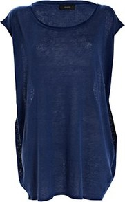 Oversized Fluid Linen Tunic Royal Blue - sleeve style: capped; pattern: plain; length: below the bottom; style: tunic; predominant colour: navy; occasions: casual, holiday; neckline: scoop; fibres: linen - mix; fit: loose; sleeve length: short sleeve; texture group: linen; pattern type: fabric