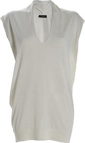 V Neck Cashmere Silk Tunic White - neckline: v-neck; sleeve style: capped; pattern: plain; length: below the bottom; style: tunic; predominant colour: white; occasions: casual, evening, work; fibres: silk - mix; fit: body skimming; sleeve length: short sleeve; pattern type: fabric; texture group: jersey - stretchy/drapey