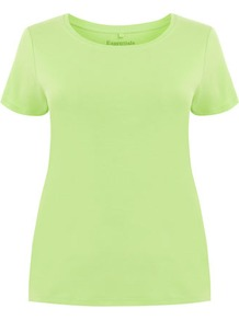 Lime Green Cotton T Shirt - neckline: round neck; pattern: plain; style: t-shirt; predominant colour: lime; occasions: casual; length: standard; fibres: cotton - 100%; fit: body skimming; sleeve length: short sleeve; sleeve style: standard; texture group: cotton feel fabrics; trends: fluorescent; pattern type: fabric; pattern size: standard