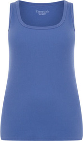 Blue Cotton Vest - neckline: round neck; pattern: plain; sleeve style: sleeveless; style: vest top; predominant colour: denim; occasions: casual; length: standard; fibres: cotton - 100%; fit: body skimming; sleeve length: sleeveless; texture group: cotton feel fabrics; pattern type: fabric