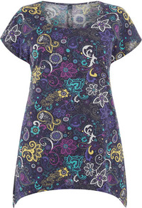 Paisley Print Dipped Hem Top - neckline: round neck; style: t-shirt; occasions: casual, holiday; length: standard; fibres: cotton - 100%; fit: straight cut; predominant colour: multicoloured; sleeve length: short sleeve; sleeve style: standard; trends: statement prints; pattern type: fabric; pattern size: big &amp; busy; pattern: patterned/print; texture group: jersey - stretchy/drapey